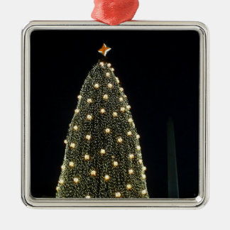 Nationaler Weihnachtsbaum u. Washington-Monument Silbernes Ornament