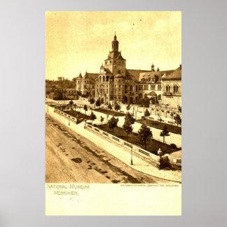 Nationales Museum München Deutschland 1924 Vintag Poster