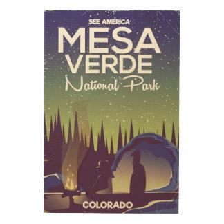 Nationalpark-Campingsreiseplakat MESAs Verde Holzwanddeko