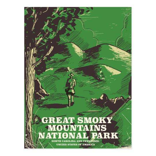 Nationalpark-Reiseplakat Great Smoky Mountains Postkarte