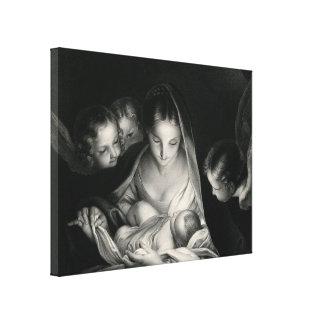 Nativity-Jesus-Jungfrau-Mary-Engel Schwarz-weiß Leinwanddruck
