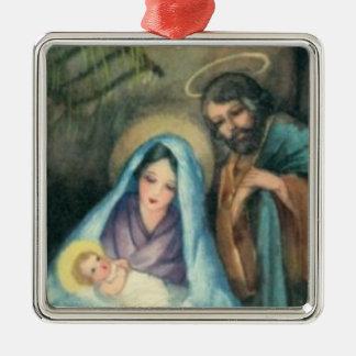 Nativity-Szenen-Vintage Weihnachtsverzierung Silbernes Ornament