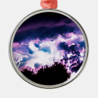 Natur-Beleuchtungs-Bolzen-Wetter-Regen-regnerische Silbernes Ornament