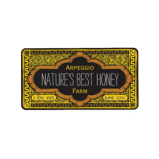 Natur-bestes Honig-Glas personalisiert Adress Aufkleber