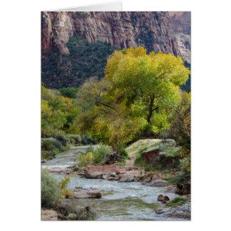 Natur-Herbst-Fall-Landschaft mit Fluss-Karte Grußkarte