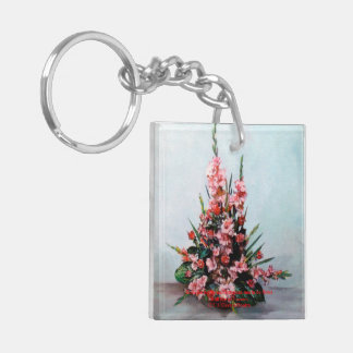Nature morte de fleurs/Still life of flowers Porte-clé Carré En Acrylique Double Face