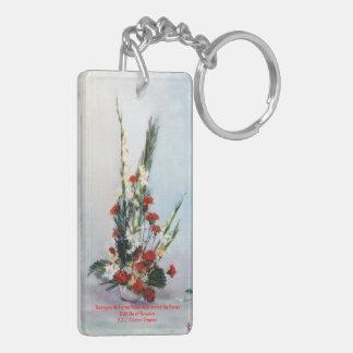 Nature morte de fleurs/Still life of flowers Porte-clé Rectangulaire En Acrylique Double Face