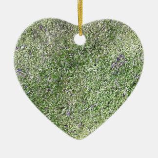 Natürlich wachsendes weiches grünes Moosgras Keramik Herz-Ornament