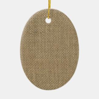 Natürlicher beige TAN-Jutefaser-Leinwand-Rustikale Keramik Ornament