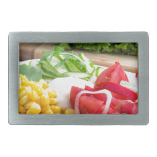 Natürlicher Salat der Tomaten, mozarella Käse Rechteckige Gürtelschnalle