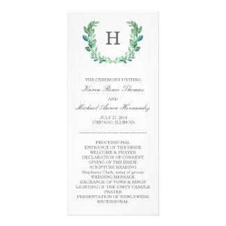 Natürliches Kranz-Hochzeits-Programm Werbekarte