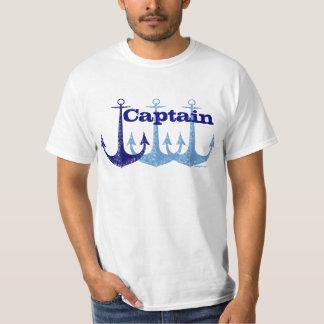 Nautischpersonalisiertes blauen Anker Kapitäns T-Shirt