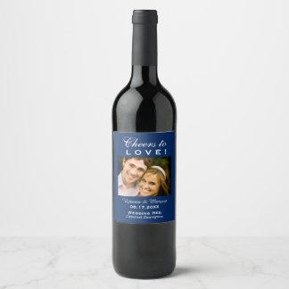 Navy Blue Wedding Photo Wine Bottle Favor Weinetikett