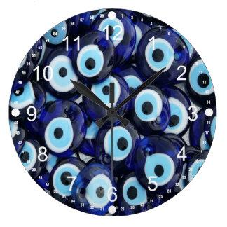 Nazar-Amulett-böser Blick entsteint blaues Muster Große Wanduhr