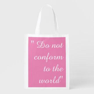 Ne se conforment pas le sac sacs d'épicerie réutilisables