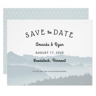 Nebelhafte GebirgsSave the Date Hochzeit in Karte