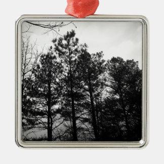 Nebelhafter ätherischer Spuk Baum-Waldholz-Nebel Quadratisches Silberfarbenes Ornament