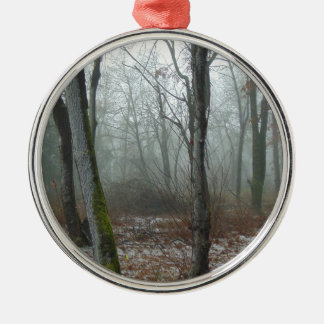 Nebelhaftes Holz Rundes Silberfarbenes Ornament