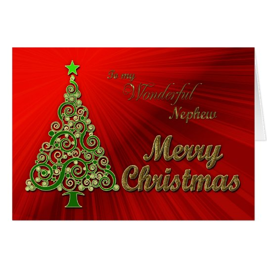 Neffe, ein Gold und rote Effekt Weihnachtskarte Karte