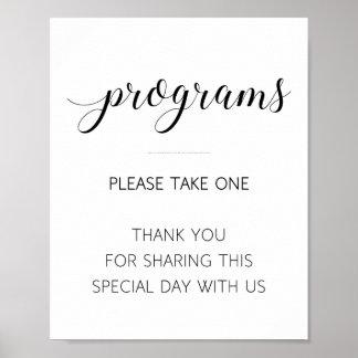 Nehmen Sie bitte ein Programm-Wedding Zeichen - Poster