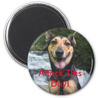 Nehmen Sie diesen Tageshundeknopf in Angriff Runder Magnet 5,7 Cm