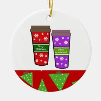 Nehmen Sie Feiertags-Kaffee heraus Keramik Ornament