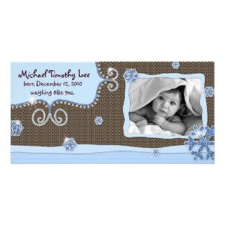 Neige d'étincelle de rose de carte photo de bébé photocarte