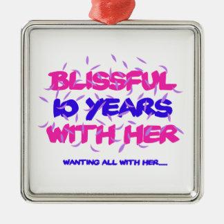 Neigen der 10. Heiratjahrestagsentwürfe Silbernes Ornament
