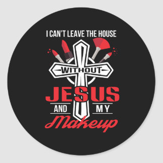 Neigung verlassen Haus ohne Jesus-Make-up Runder Aufkleber