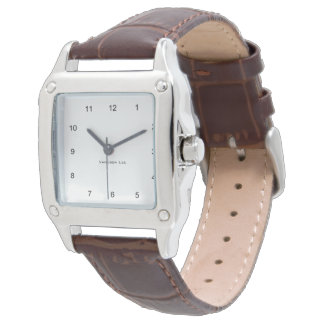 Nennen Sie Ihren quadratischen Brown-Lederband Armbanduhr