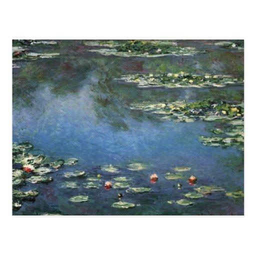 Nénuphars, Monet, fleurs vintages d'impressionisme Cartes Postales