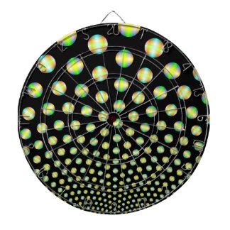 Neonbereiche auf schwarzem Dartboard Dartscheibe