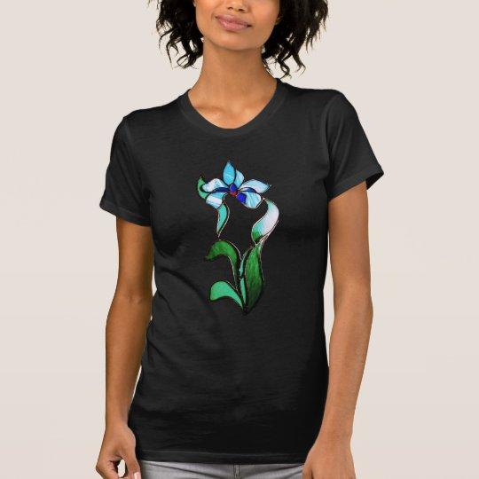 NeonBlumen des blauen Grüns auf Schwarzem T-Shirt