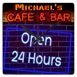 Neonlicht BAR-CAFÉ öffnen ALLE Stunden Quadratische Wanduhr