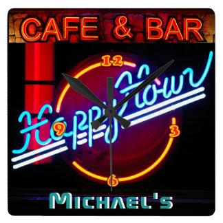 Neonlicht BAR-CAFÉ-personalisiertes ZEICHEN Quadratische Wanduhr