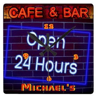 Neonlicht BAR-CAFÉ Stift ALLE Stunden Quadratische Wanduhr