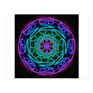 Neonlicht-Mandala-Entwurf Postkarte