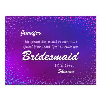 Neonlichter - sind Sie meine Brautjungfer? Postkarte