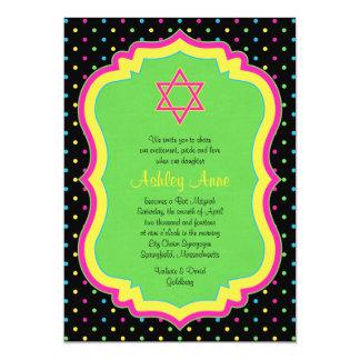 NeonTupfen-Schläger Mitzvah Einladung
