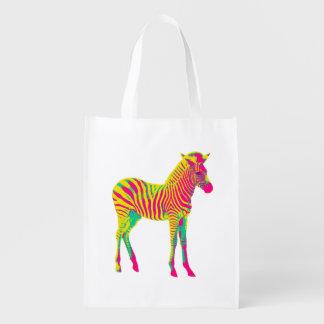Neonzebra-Baby-tierisches psychedelisches Wiederverwendbare Einkaufstasche