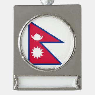Nepal-Flagge Banner-Ornament Silber