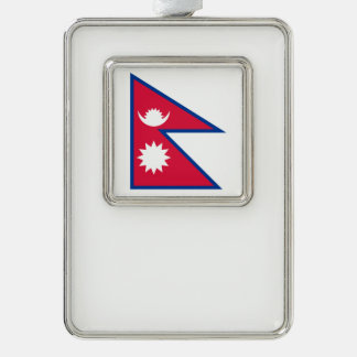 Nepal-Flagge Rahmen-Ornament Silber