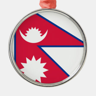 Nepal-Flagge Silbernes Ornament