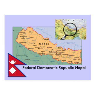 Nepal-Karte Postkarte