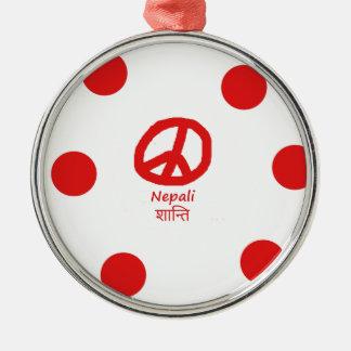Nepali-Sprache und Friedenssymbol-Entwurf Silbernes Ornament