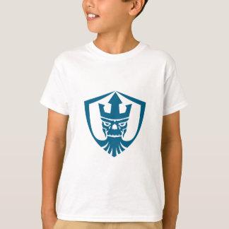Neptun-Schädeltrident-Kronen-Wappen-Ikone T-Shirt