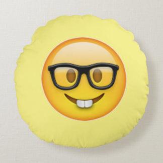 Nerd-Jungen-Gläser Emoji rundes Kissen