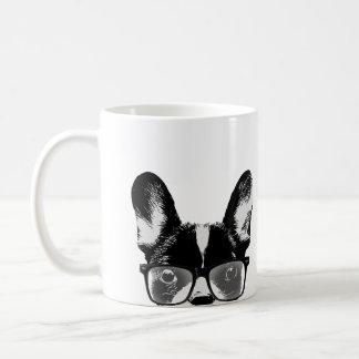 Nerdy französische Bulldoggen-Hipster-Hund Tasse