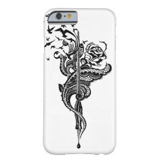 Nervöse Spitze-Stift-, Rosen- u. Vogelillustration Barely There iPhone 6 Hülle