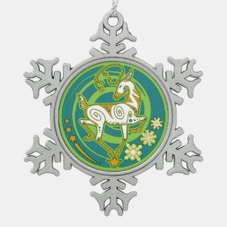 Nerz Holidaze Weihnachtsverzierunggrün Schneeflocken Zinn-Ornament